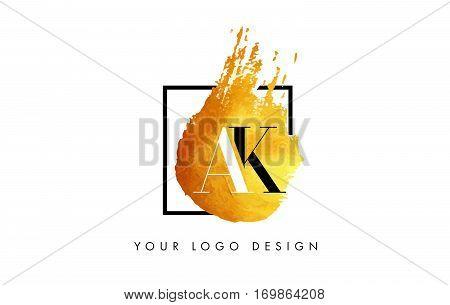AK Circular Letter Brush Logo. Pink Brush with Splash Concept Design.