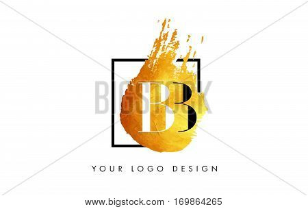 BB Circular Letter Brush Logo. Pink Brush with Splash Concept Design.