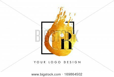 GR Circular Letter Brush Logo. Pink Brush with Splash Concept Design.