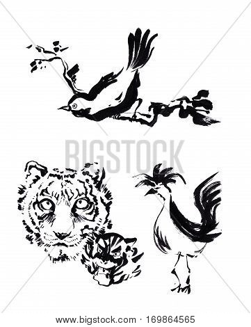 Animal Chinese Brush Painting Drawing. Tiger, Rooster And Bird Caligraph