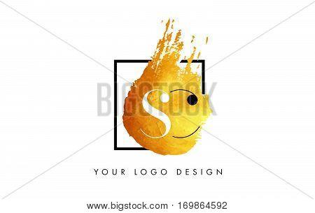 SC Circular Letter Brush Logo. Pink Brush with Splash Concept Design.