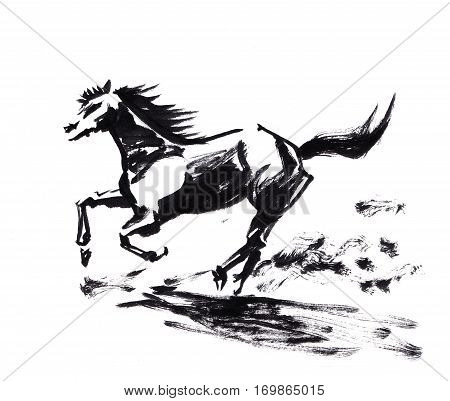 Horse Running Chinese Brush Painting, Artistic Caligraphy