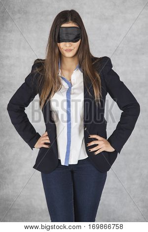 Business Woman Blindfolded