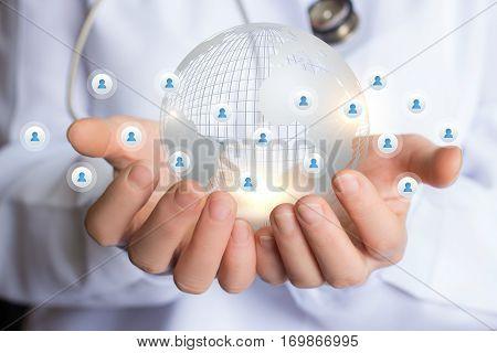Medical network concept design illustration banner background.
