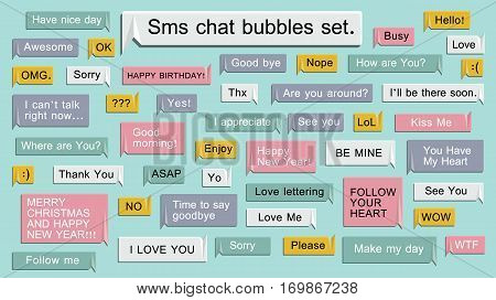 Sms Mobile phone chat message notifications vector illustration isolated on black background, chatting bubble speeches, online talking, speak, conversation, dialog. Easy editable for Your design