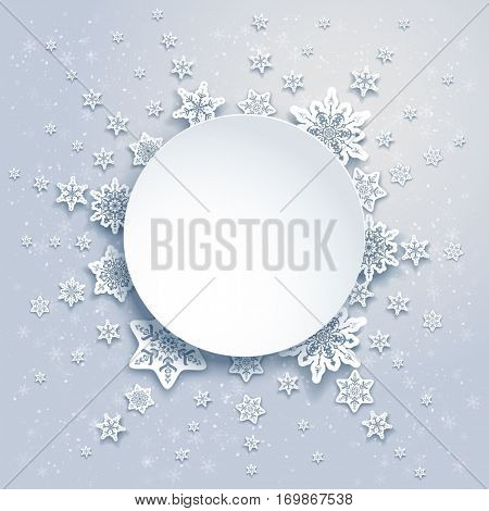 Winter snowflakes frame