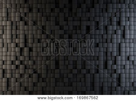 Black cubes randomly pushed out illuminated with warm and cool side lights background. 3D illustration.
