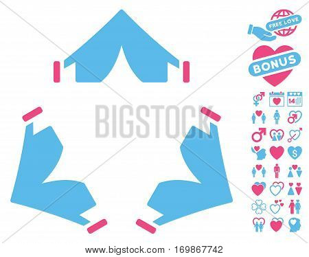 Tent Camp pictograph with bonus valentine icon set. Vector illustration style is flat rounded iconic pink and blue symbols on white background.