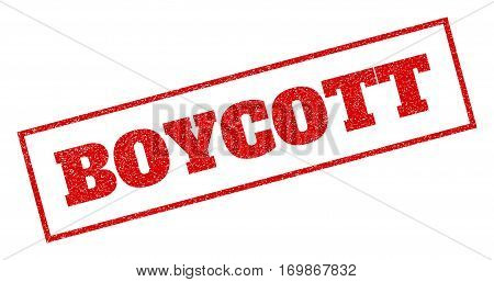 Red rubber seal stamp with Boycott text. Vector message inside rectangular banner. Grunge design and unclean texture for watermark labels. Inclined sign.