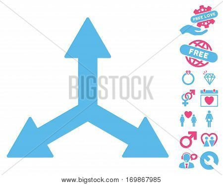 Triple Arrows icon with bonus romantic design elements. Vector illustration style is flat rounded iconic pink and blue symbols on white background.