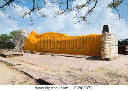 Reclining Buddha of Wat Lokayasutha in Ayutthaya Thailand.
