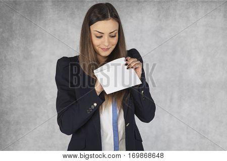 Business Woman Checks Bribes