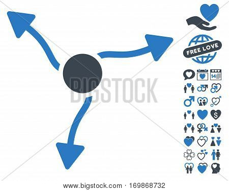 Curve Arrows icon with bonus passion icon set. Vector illustration style is flat rounded iconic smooth blue symbols on white background.