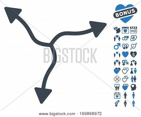 Curve Arrows pictograph with bonus valentine icon set. Vector illustration style is flat rounded iconic smooth blue symbols on white background.