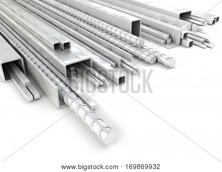 metal steel profile 3d rendering