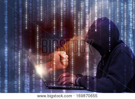 Retaliation for a hacker attack concept design illustration banner background.