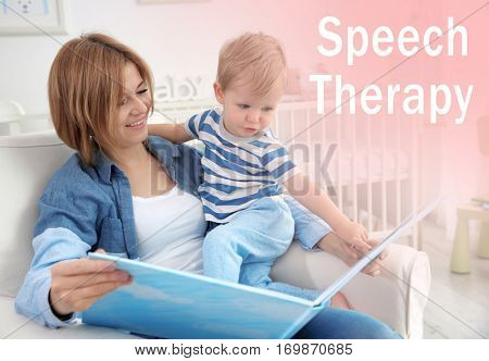 Mother reading book with son at home. Text SPEECH THERAPY on background