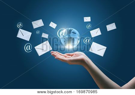 Sending e-mails concept design illustration banner background.
