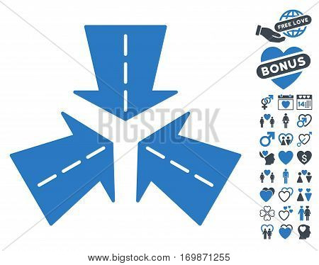 Merge Directions icon with bonus marriage pictograms. Vector illustration style is flat rounded iconic smooth blue symbols on white background.