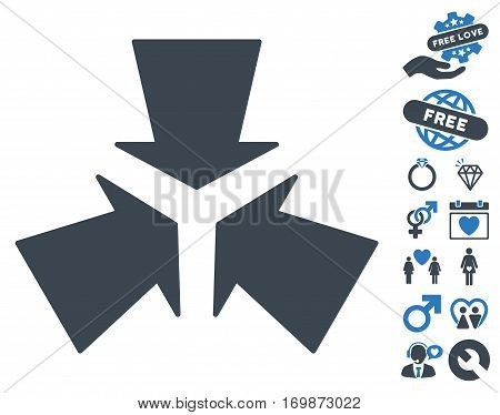 Shrink Arrows icon with bonus love clip art. Vector illustration style is flat rounded iconic smooth blue symbols on white background.