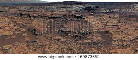 Panorama of Mars surface. Elements of this image furnished by NASA.