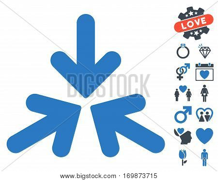 Triple Collide Arrows pictograph with bonus love design elements. Vector illustration style is flat rounded iconic smooth blue symbols on white background.