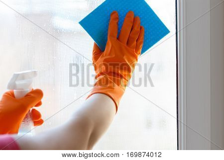 Wash the window with cleaning agent concept design .