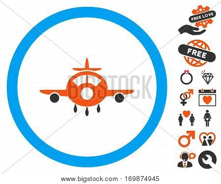 Aircraft pictograph with bonus romantic graphic icons. Vector illustration style is flat iconic elements for web design app user interfaces.