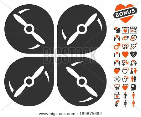 Airdrone Screws Rotation pictograph with bonus amour design elements. Vector illustration style is flat iconic elements for web design app user interfaces. poster
