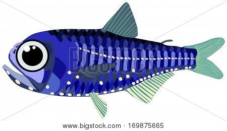 Vector Lantern Fish lives in ocean and under deep blue water life one of sea filterers