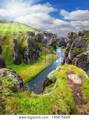 Northern sun shines over the tundra. Bizarre cliffs surround the stream with glacial water. The Icelandic Tundra in July