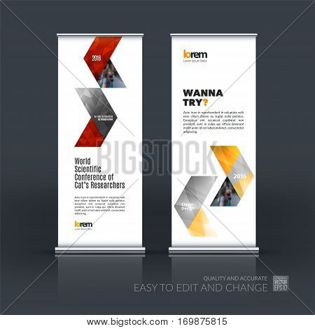 Abstract business vector set of modern roll Up Banner stand design template with red arrows, triangles for exhibition, fair, show, exposition, expo, presentation, parade, events.