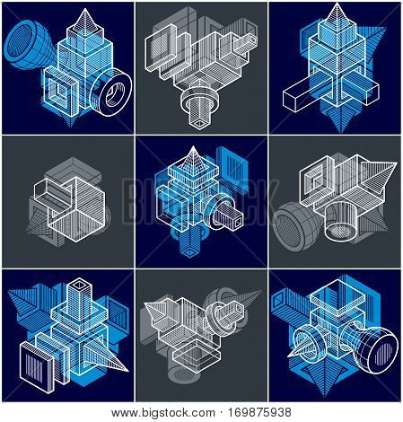 Abstract three-dimensional geometric shapes set vector designs.