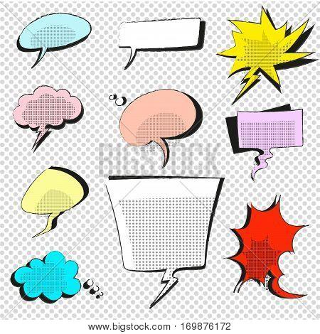 comic icons speech bubbles dot vector illustration