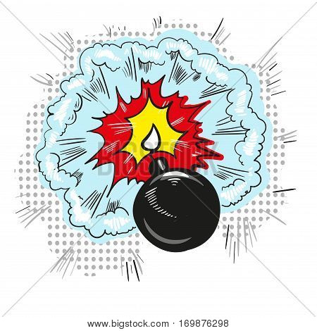 Cartoon bomb with fire pop art style vector illustration. Comic book style imitation