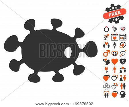 Bacteria pictograph with bonus marriage pictures. Vector illustration style is flat iconic elements for web design app user interfaces.
