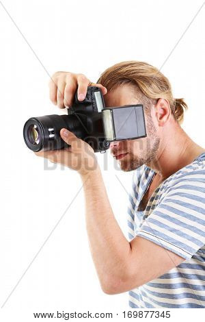 Handsome photographer with camera, isolated on white