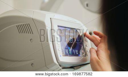 A generic eye scanner machine for optometrist, close up