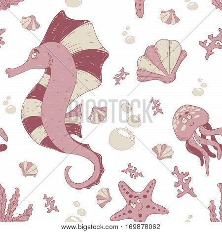Underwater seahorse with shell, jellyfish and starfish pink vector for children