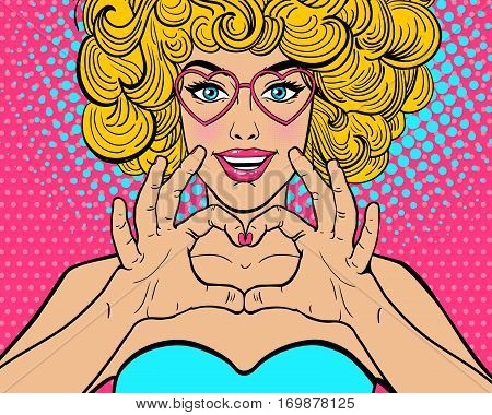 Wow Pop Art Face. Sexy Young Woman With Open Smile And Blonde Curly Hairstyle In Glasses In Form Of