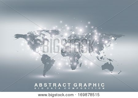 Geometric graphic background communication with World Map. Big data complex with compounds. Perspective backdrop. Minimal array. Digital data visualization. Scientific cybernetic vector illustration poster