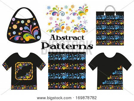 Colorful and Blue Floral Backgrounds, Stars and Spirals on Black, Presented in Tank Top, Shopping Bag and Handbag with Abstract Seamless Patterns. Vector