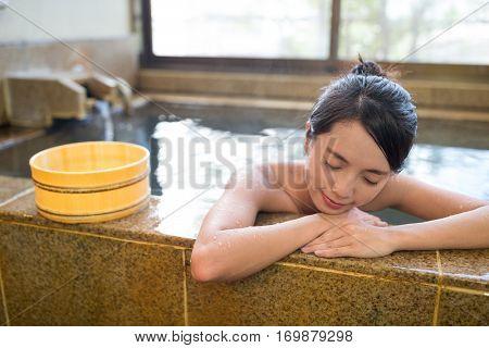 Woman having hot springs