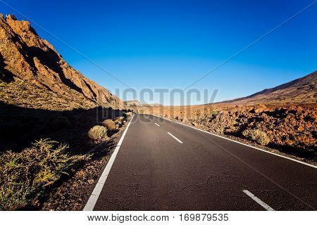 Tarmac road to el Teide volcano. Tenerife Canary Island Spain