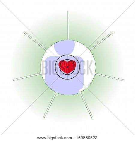 Vector illustration. The emblem logo. The human heart at risk. Healthy lifestyle. human contour. Seven separate sections. Different colors.