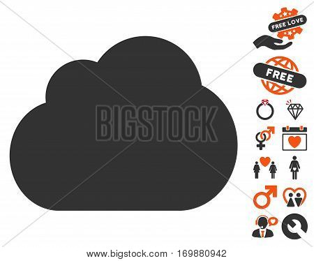 Cloud icon with bonus dating graphic icons. Vector illustration style is flat iconic elements for web design app user interfaces.