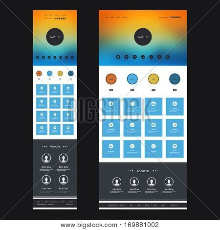 Responsive One Page Website Template Kit with Blurred Background - Sunset Sky Header Design - Desktop and Mobile Version