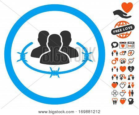 Concentration Camp pictograph with bonus decoration pictures. Vector illustration style is flat iconic elements for web design app user interfaces.