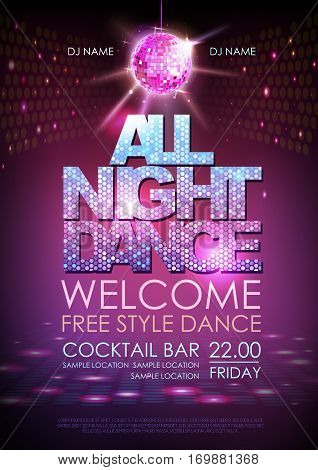 Disco ball background. Disco poster all night dance. Neon