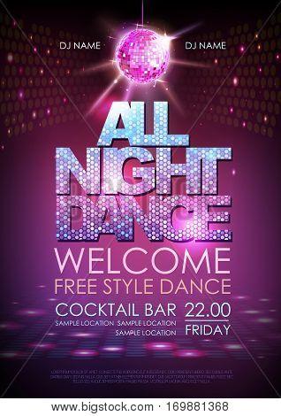 Disco ball background. Disco poster all night dance. Neon
